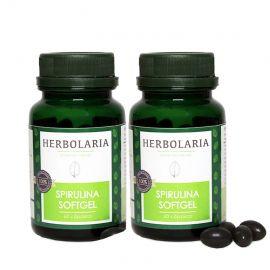 2 X SPIRULINA SOFT GEL 60 CAPS. HERBOLARIA